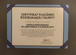 Otrzymaliśmy Certyfikat Placówki Rozwijającej Talenty